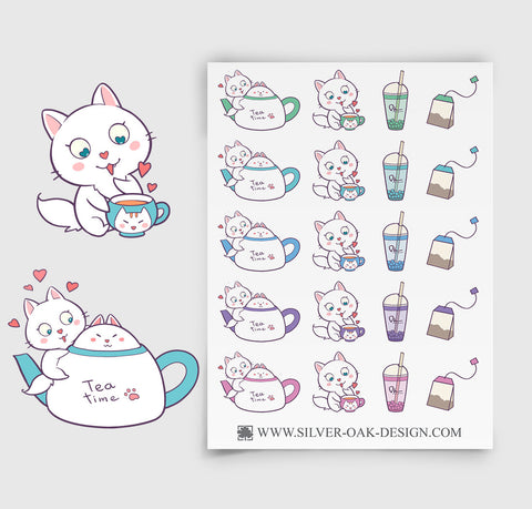Cat Tea Party Planner Stickers | CAT-005
