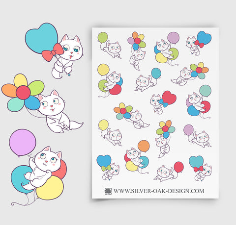 CAT-004 | Bella Kitty Cat Kawaii Party Balloon Planner Stickers