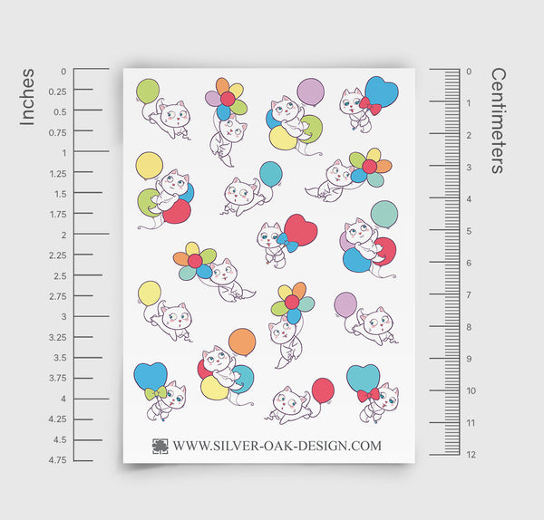 Cat Party Balloon Planner Stickers | CAT-004
