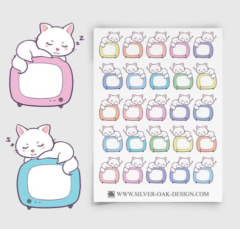 CAT-003 | Bella Kitty Cat Kawaii TV Show Reminder Television Planner Stickers