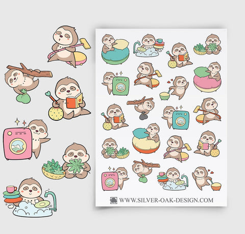 Sloth Housework Planner Stickers | SLT-002