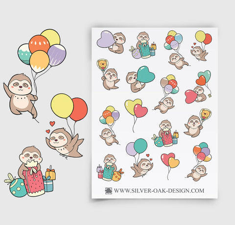 Sloth Party Planner Stickers | SLT-003