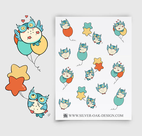 Party Balloon Owl Planner Stickers | OWL-002