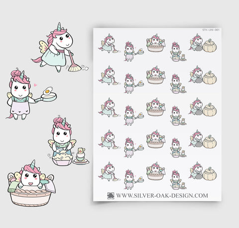 UNI-001 | Luna Unicorn Kawaii Cleaning / Housework Planner Stickers