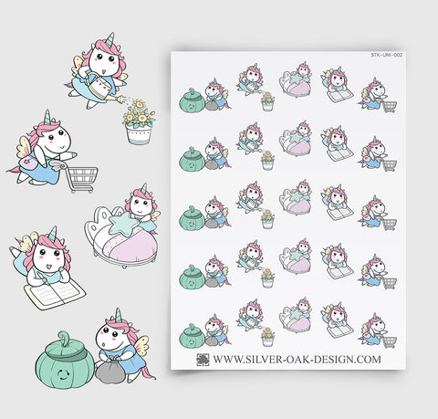 House Chores Planner Stickers | Kawaii Unicorn | UNI-002