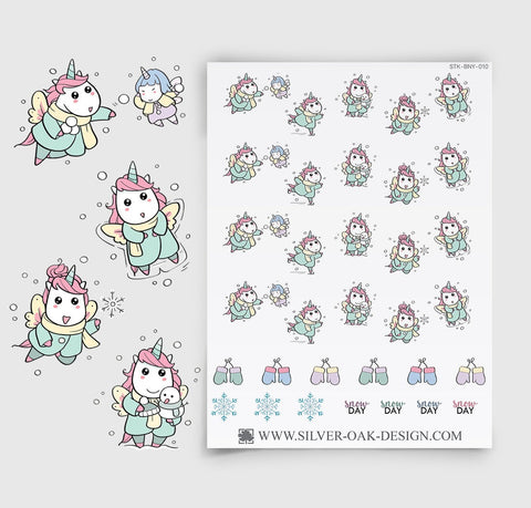 Snow Day Planner Stickers | Kawaii Unicorn | UNI-010
