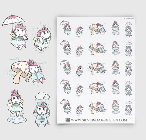 Rainy Day Planner Stickers | Kawaii Unicorn | UNI-009