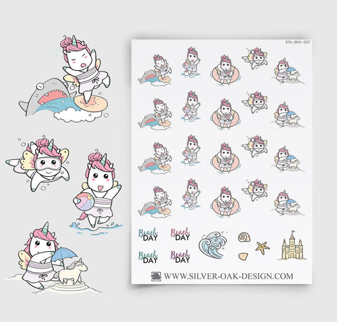 Beach Day Planner Stickers | Kawaii Unicorn | UNI-007