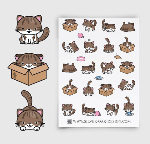 Brown Kawaii Kitten Planner Stickers | LLP-023