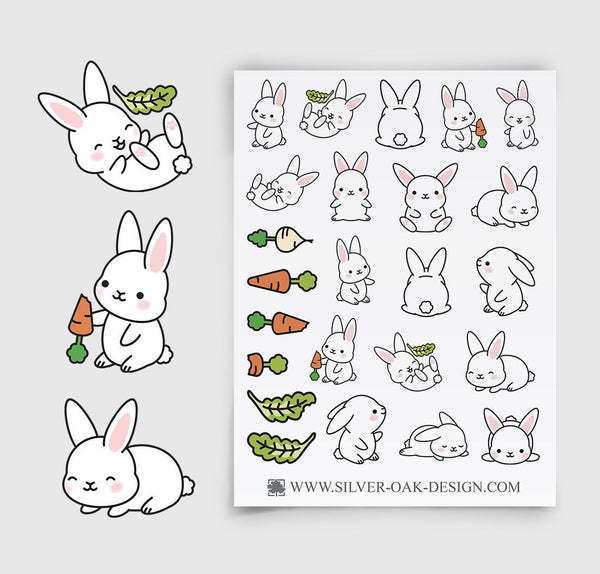 Cute Bunny Rabbit Planner Stickers |  LLP-024