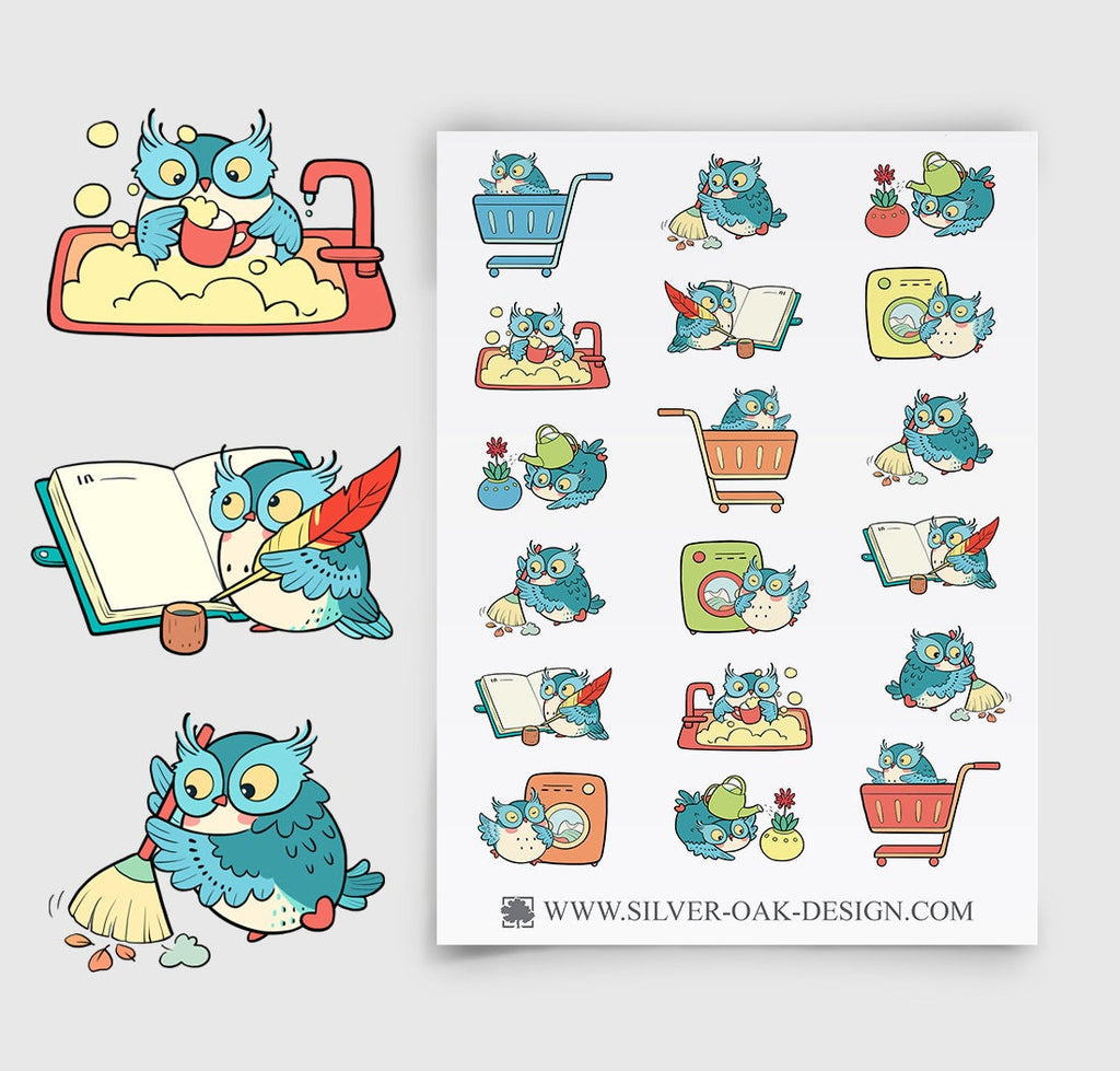 Owl Housework Planner Stickers | Chores | Housekeeping | OWL-004