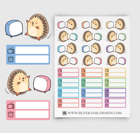Hedgehog Television Planner Stickers | tv Shows | HDG-004