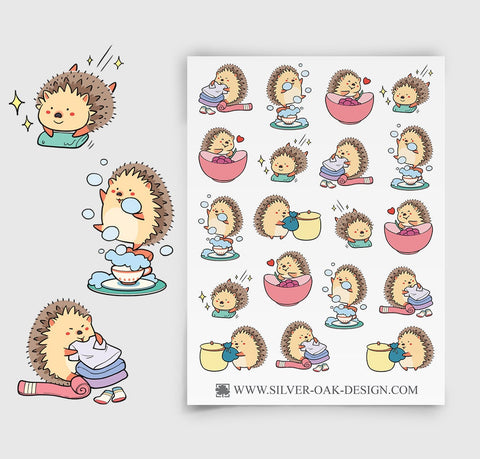 Hedgehog Housework Planner Stickers | Cleaning | Chores | HDG-002