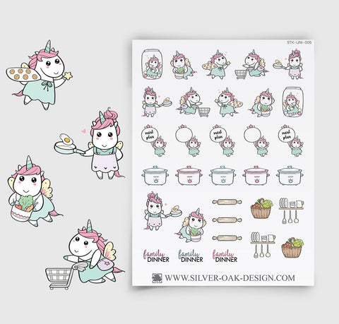 Meal Prep Planning Stickers | Kawaii Unicorn | UNI-006