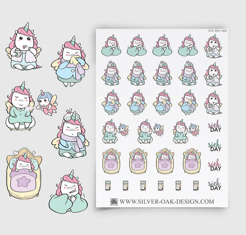 Sick Day Stickers | Kawaii Unicorn | UNI-008