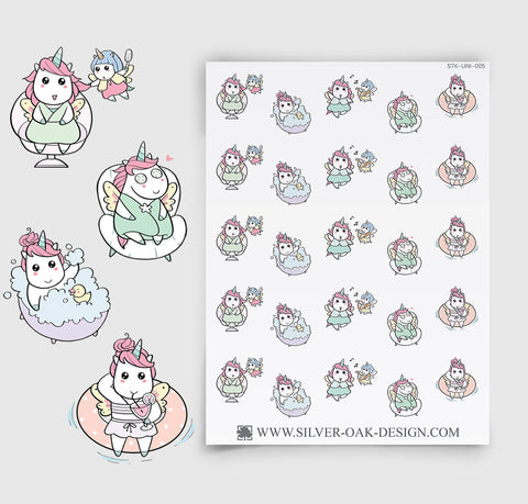 Self Care Relaxation Planner Stickers | Kawaii Unicorn | UNI-005