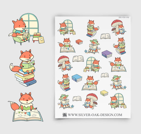 Fox Reading Books Planner Stickers | FOX-012