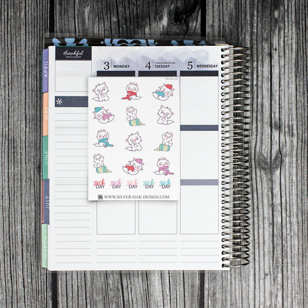 Cat Sick Day Planner Stickers | CAT-016