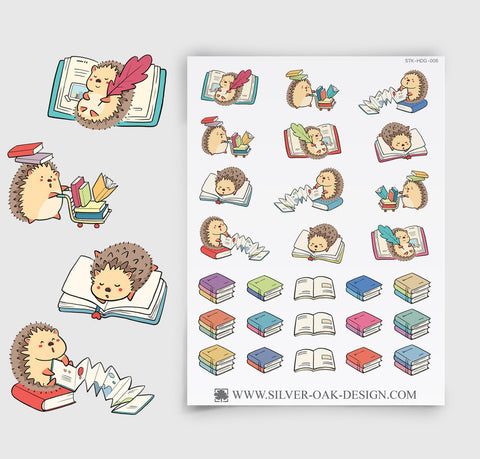 Hedgehog Reading Books Planner Stickers | HDG-006