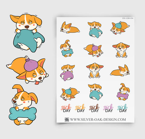 Corgi Illness Sick Day Planner Stickers | COR-014