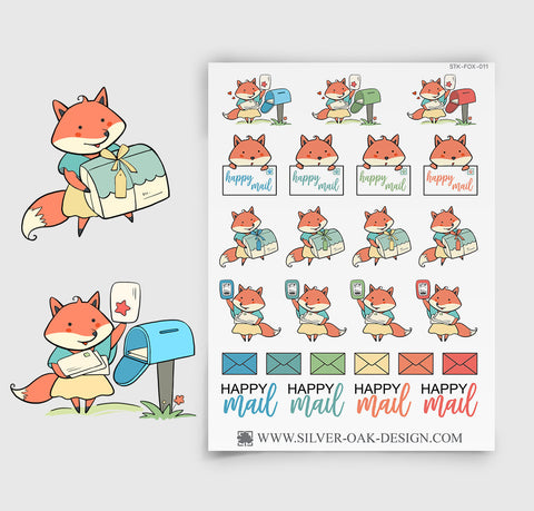 Kawaii Fox Happy Mail Planner Stickers | FOX-011