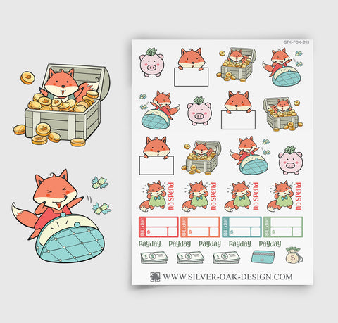 Kawaii Fox Budget Payday Money Planner Stickers | FOX-013