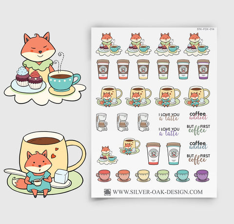 Kawaii Fox Coffee Planner Stickers | FOX-014