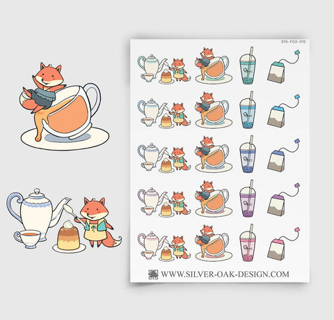 Kawaii Fox Tea Time Planner Stickers | FOX-015