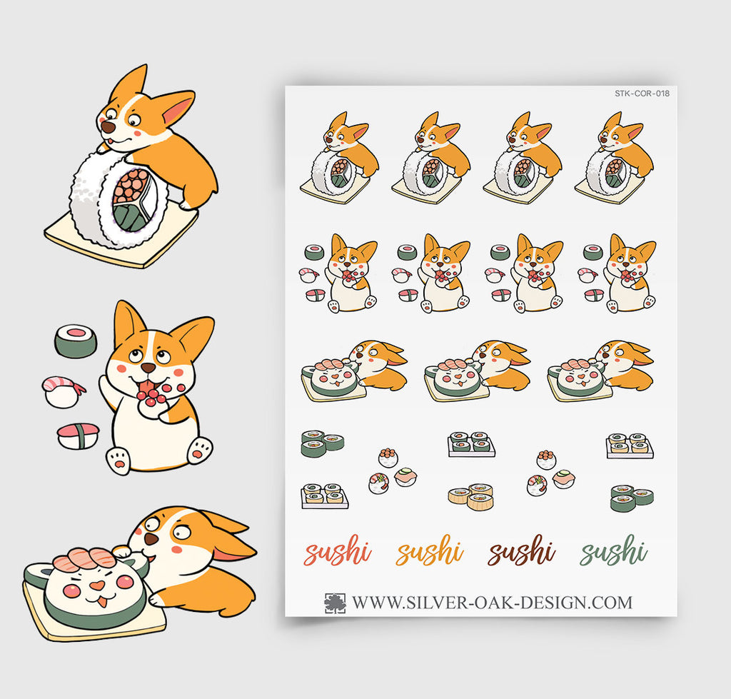 Corgi Sushi Night Planner Stickers | COR-018