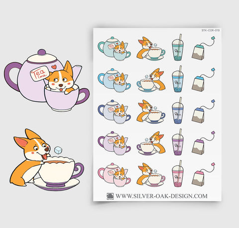 Corgi Tea Time Planner Stickers | COR-019