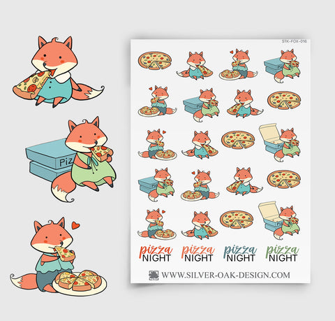 Kawaii Fox Pizza Night Planner Stickers | FOX-016