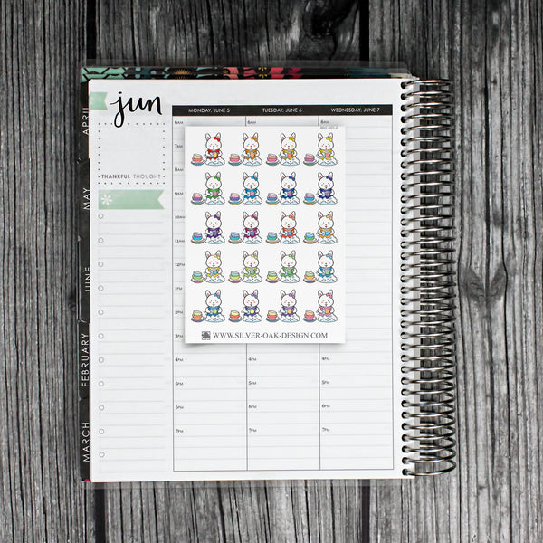 BNY-001-E | Bunny Rabbit Washing Dishes Planner Stickers