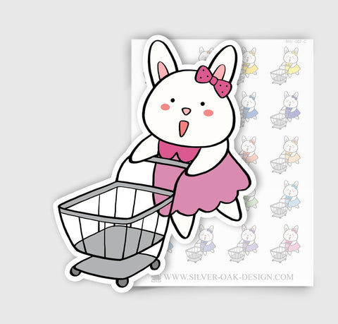 BNY-002-C | Bunny Rabbit Shopping Planner Stickers