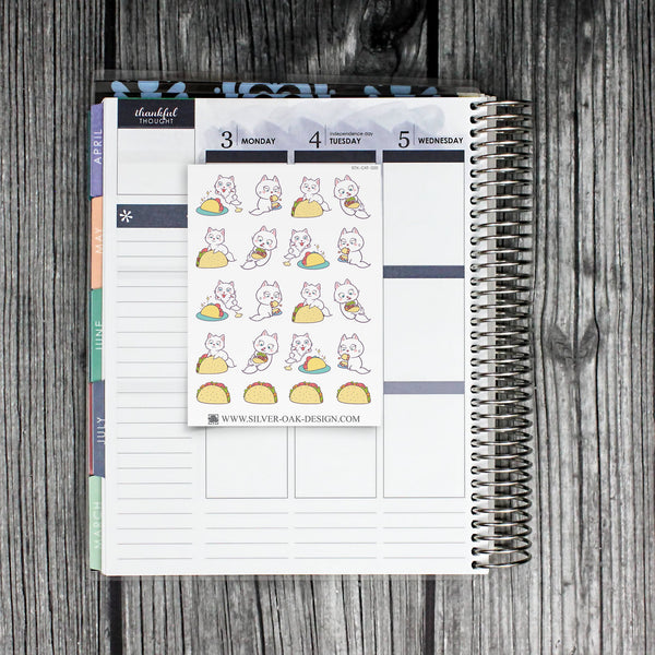 Cat Taco Night Planner Stickers | CAT-020