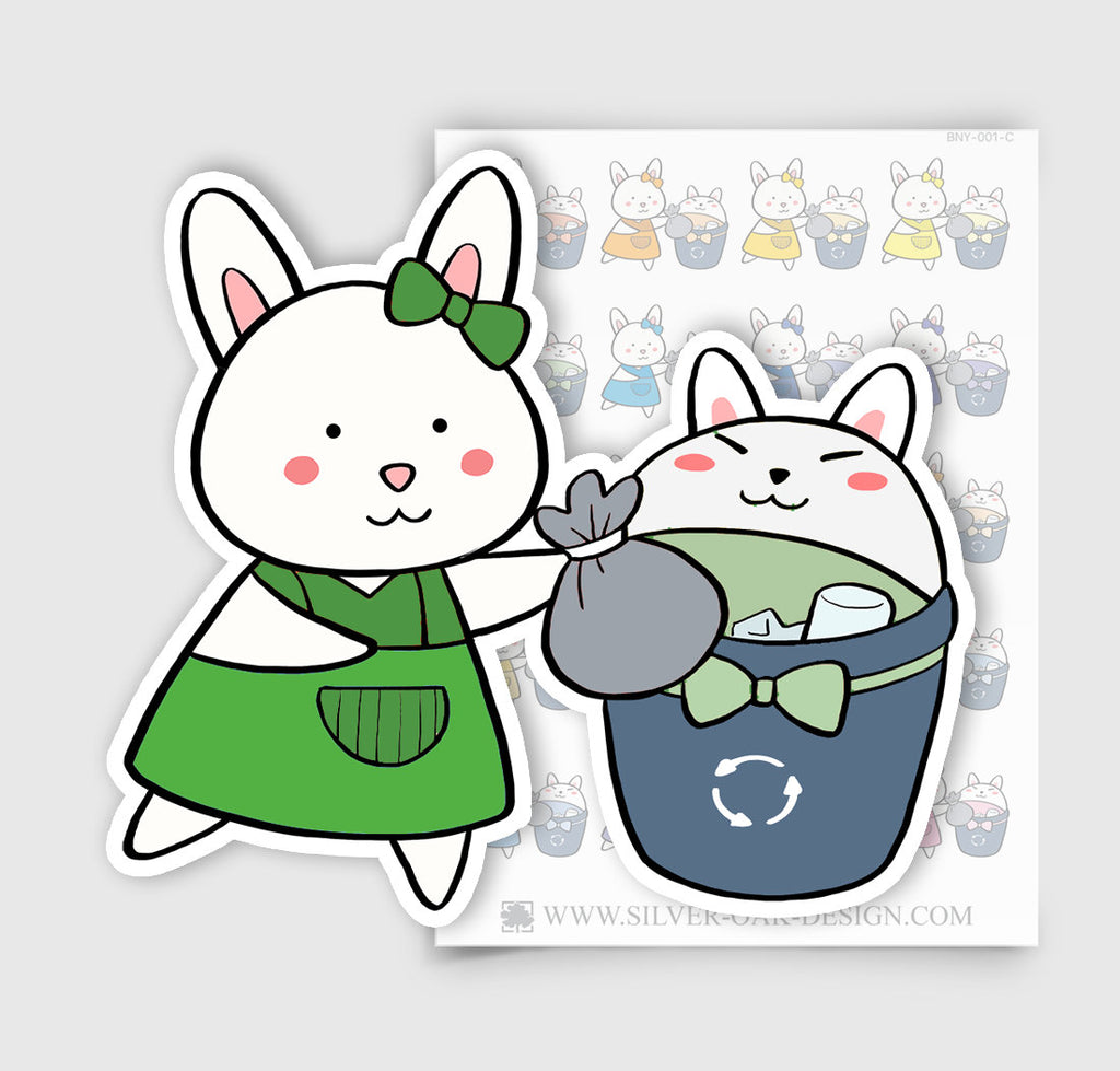 Bunny Rabbit Trash Day Planner Stickers | BNY-001-C