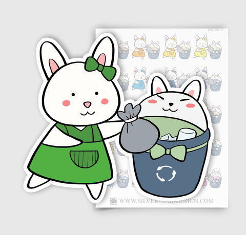 BNY-001-C | Bunny Rabbit Trash Day Planner Stickers