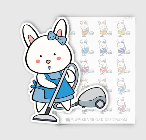 BNY-001-D | Bunny Rabbit Vacuuming Planner Stickers