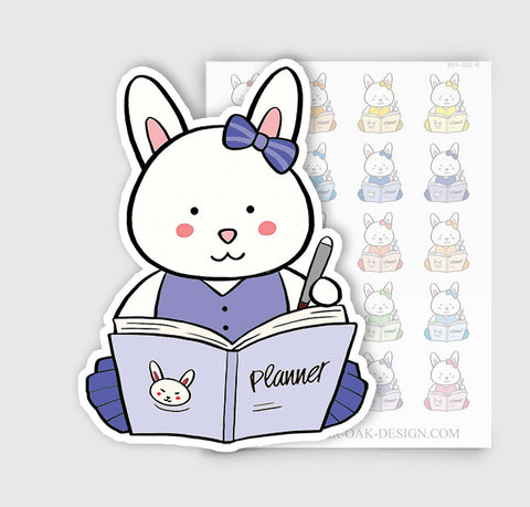 BNY-002-B | Bunny Rabbit Writing Journal Planner Stickers