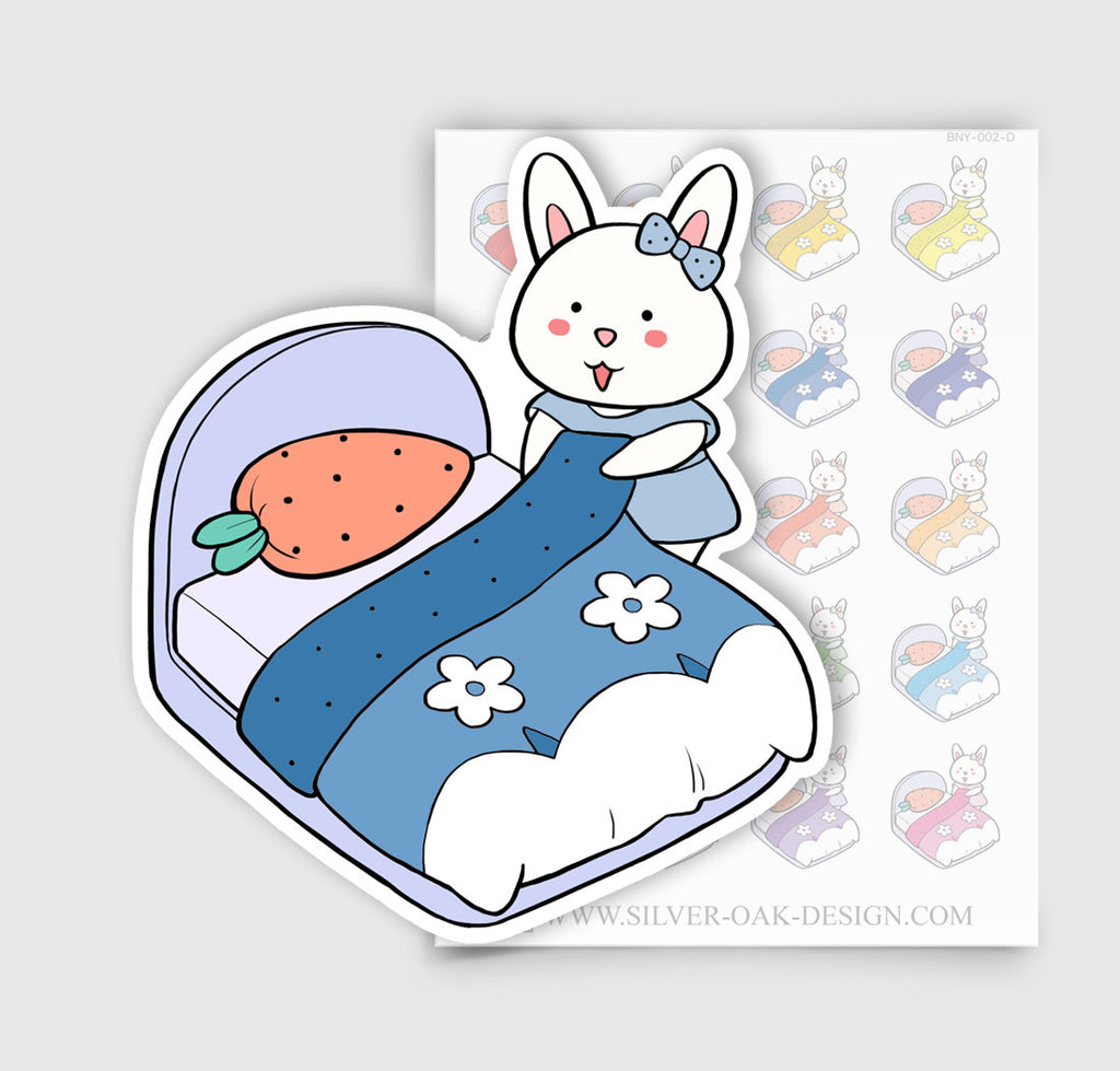 BNY-002-D | Bunny Rabbit Making the Bed Planner Stickers