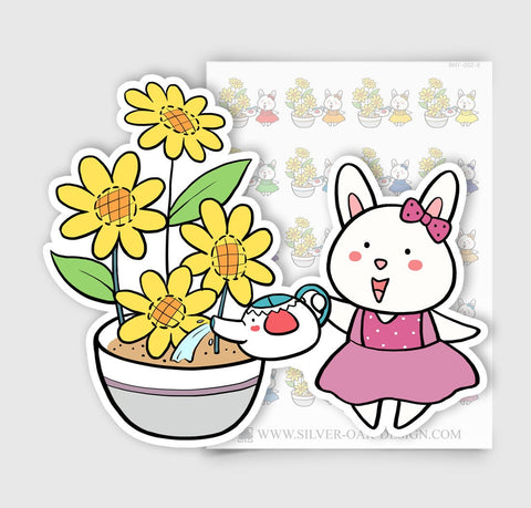 BNY-002-E | Bunny Rabbit Watering Plants Planner Stickers