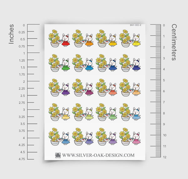 Bunny Rabbit Watering Plants Planner Stickers | BNY-002-E