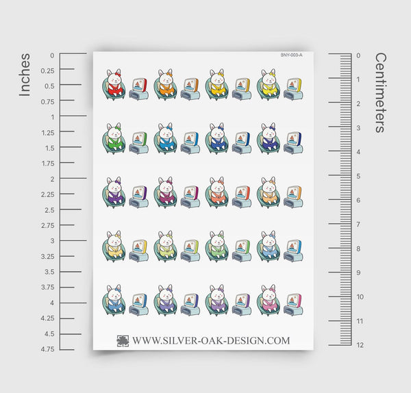 Bunny Rabbit Television / Watching TV Planner Stickers | BNY-003-A