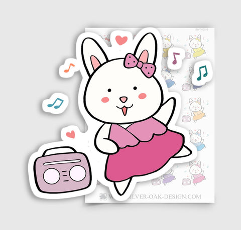 BNY-005-B | Bunny Rabbit Dancing / Music Planner Stickers