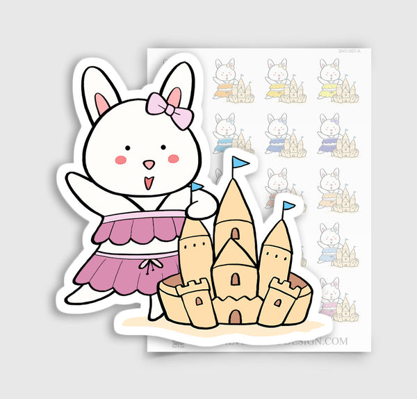 Bunny Rabbit Beach Day / Sand Castle Planner Stickers | BNY-007-A