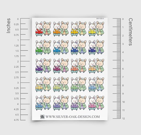 Bunny Rabbit Sick Day / Doctor Planner Stickers | BNY-008-A