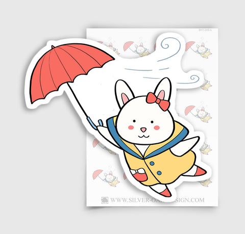 Bunny Rabbit Windy Day Weather Planner Stickers | BNY-009-A