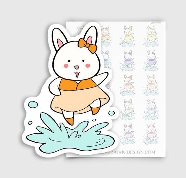 Bunny Rabbit Rainy Day Puddle Planner Stickers | BNY-009-D