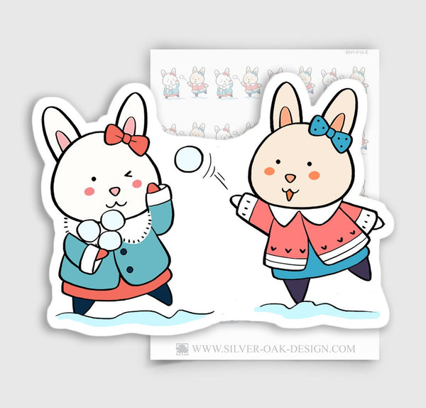 Bunny Rabbit Snow Ball Fight Planner Stickers | BNY-010-E