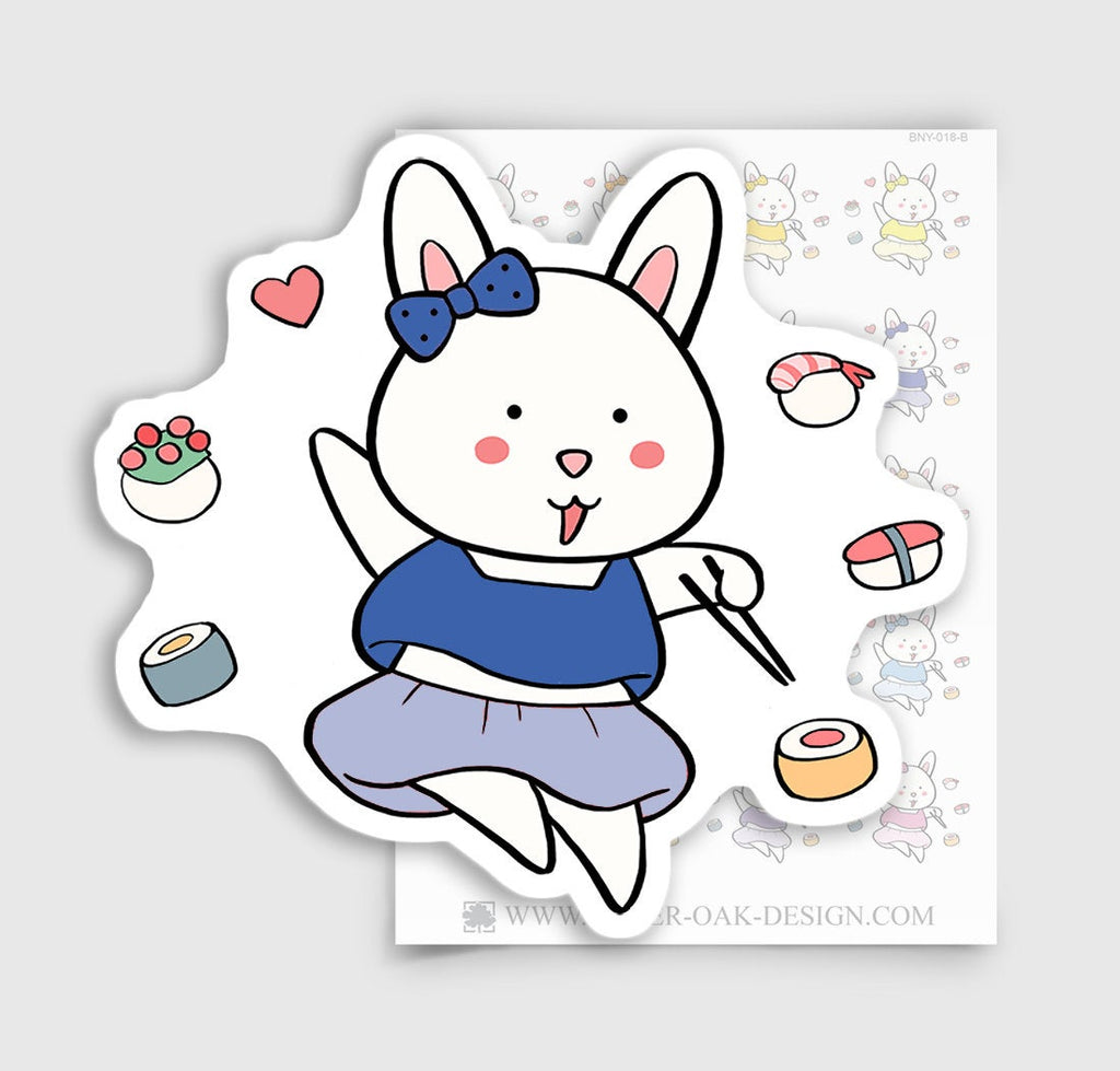 Bunny Rabbit Sushi Lover Planner Stickers | BNY-018-B