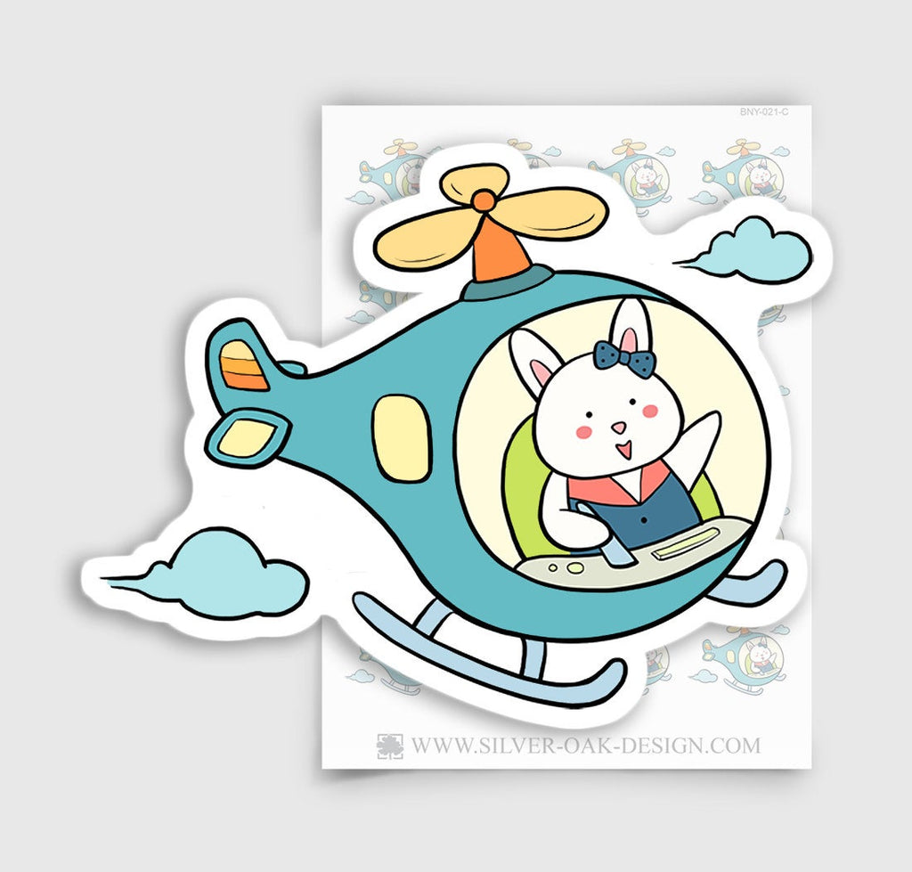 Bunny Rabbit Traveling / Flying Planner Stickers | BNY-021-C